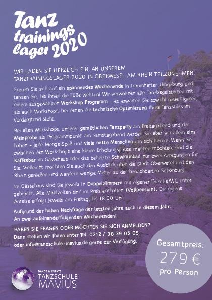 Tanztrainingslager Oberwesel 2020